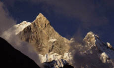 Cloudy Machapuchare, the Fishtail Mountain, West Nepal