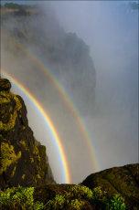 Rainbows below Victoria Falls