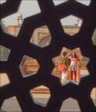 Through the temple trellis