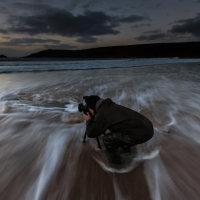 Regular workshop client Geoffrey Wignall shoots the Autumn dusk on Crantock Bay
