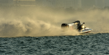 Alex Carella from the Mad Croc Team racing at the Abu Dhabi Grand Prix.