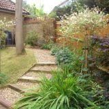 Angled sleeper and gravel path