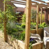 sunken seating area with raised planted beds and pergola covered with mature climbers