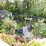 Sloping garden mostly enjoyed from above