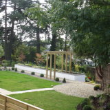 New build house with modern garden on a sloping site