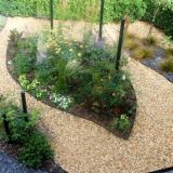 Front garden with leaf shaped planting beds