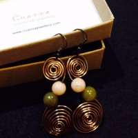 Antique bronze swirl earrings with stones (2)