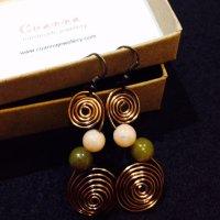 Antique bronze swirl earrings with stones (2)
