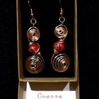 Swirl earring with red jasper gemstones