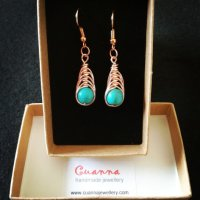 Rose gold herringbone wire wrap earrings with turquoise stone
