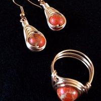 set- orange jasper rose gold earrings & ring.