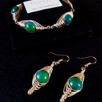 Set- rose gold with chrysocolla, bracelet & earrings