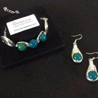 Three stone bracelet & herringbone earrings