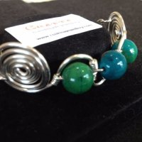Chrysocolla in silver wire
