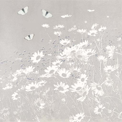 Butterflies and Daisies 2 -Taupe
