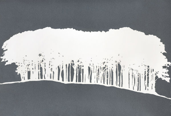 Large Hilltop Trees Blind Emboss and Layered Print