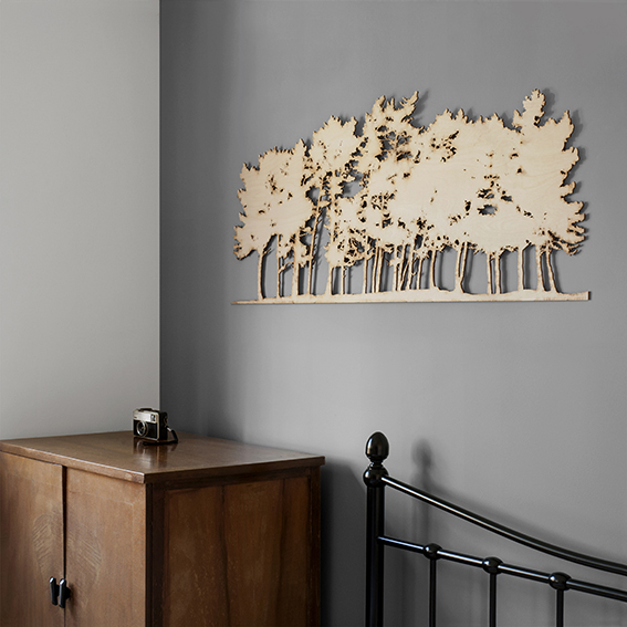 Large Pine Row Woodcutt on the wall