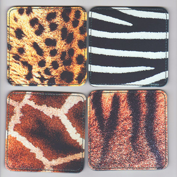"""Faux Leather Coasters """"Zoo Designs"""""""