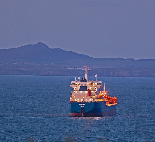 Oil Tanker at Dusk