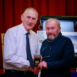Ian Whiston presented with medal by PAGB President Gordon Jenkins