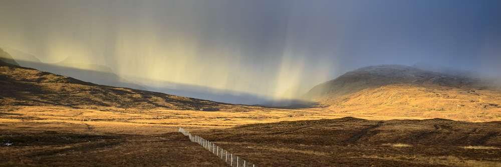 Snow shower approaching from Stac Pollaidh