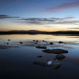 Reflections at sunset on Loch Staing