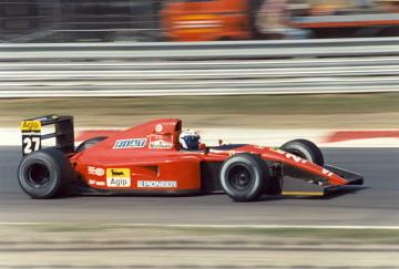 Alain Prost drives for Ferrari in 1991