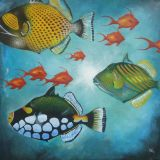 Trigger fish 1.Acrylic on canvas.76cm x76cm. Sold.