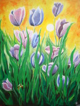 Tulips and frog.Oil on canvas.40cmx30cm.Sold