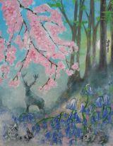 Bluebells woodland.Acrylic on canvas.25cmx30cm.Sold