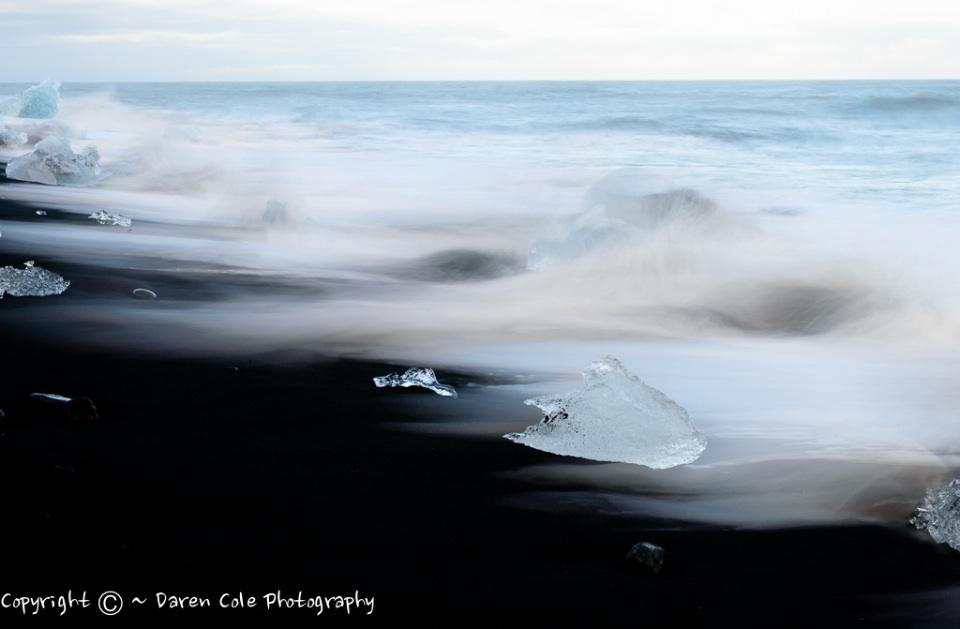 Black Beach and Icebergs
