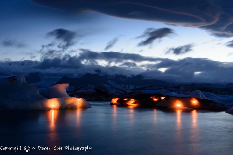 Glacial Lagoon at Night