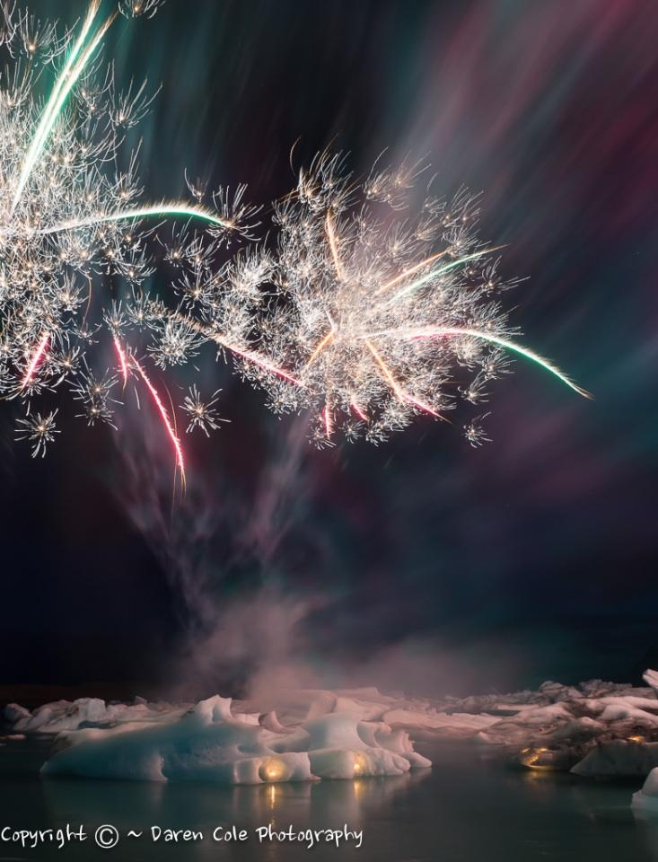 Fireworks , Jokulsarlon , Southern Iceland
