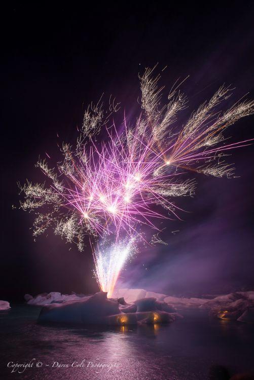 Fireworks Icebergs Iceland