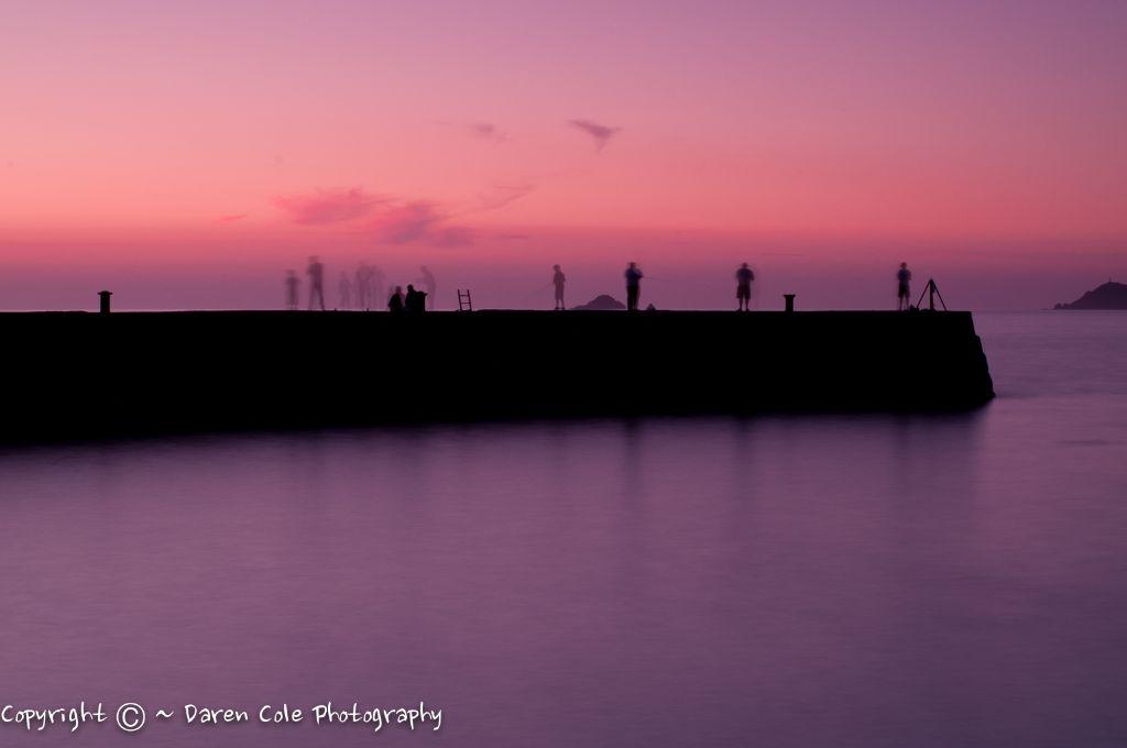 Breakwater Sunset Fisherman Shadows