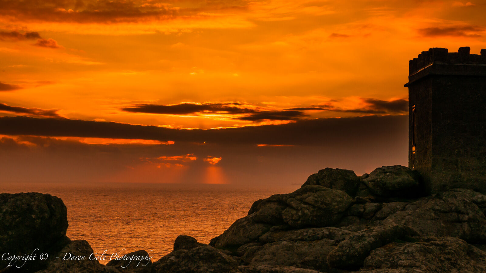 Cornwall Castle Headland Sunset