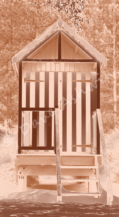 Beach hut sepia