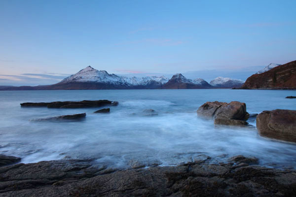 01D-8584 The Cuillin Mountains Across Loch Scavaig in Winter Viewed From Elgol Isle of Skye Scotland