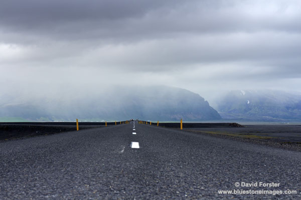 01M-0891 Temp Weather Closing in Skaftafell National Park Viewed from the Road over the Skeioararsandur Flood Plain Below the Skrioararjokull Glacier Iceland