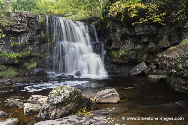 01M-4498 East Gill Upper Falls in Autumn Swaledale Yorkshire Dales UK