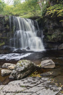 01M-4510 East Gill Upper Falls in Autumn Swaledale Yorkshire Dales UK