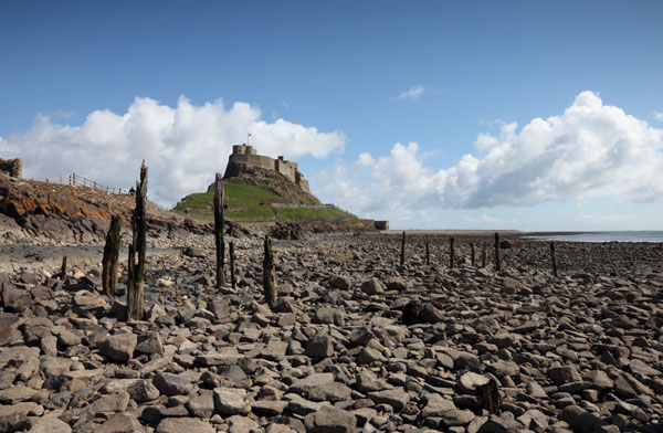 02D-2621 Lindisfarne Castle Viewed from the Beach Holy Isle Northumberland UK