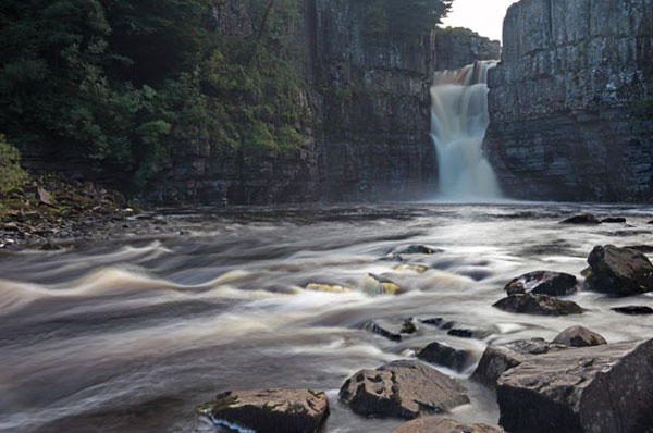 02D-8515 The River Tees Flowing Over High Force Waterfall Upper Teesdale County Durham UK