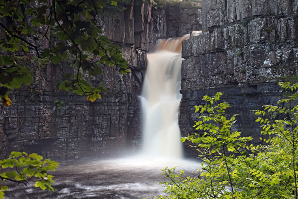 02D-8585 The River Tees Flowing Over High Force Waterfall Upper Teesdale County Durham UK