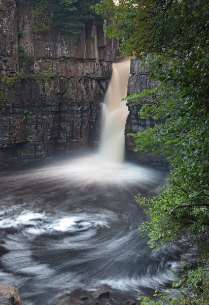 02D-8600a The River Tees Flowing Over High Force Waterfall Upper Teesdale County Durham UK