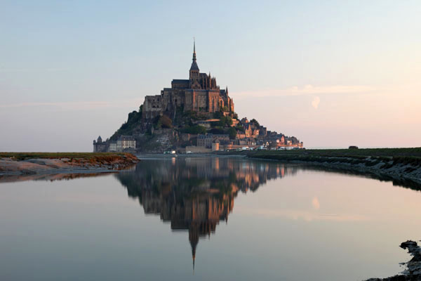 03D-1957 Le Mont St Michel Bathed in Soft Early Morning Dawn Light Normandy France.