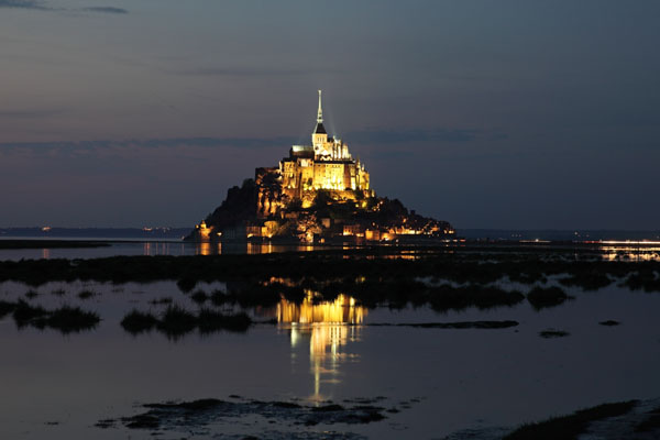 03D-2053 Le Mont St Michel Reflected in the Sea at Night Normandy France