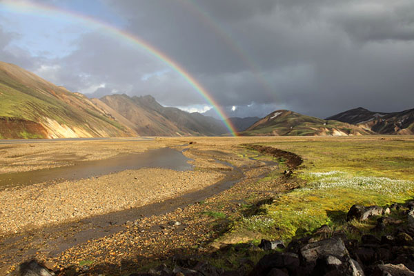 03D-4672 Double Rainbow over the Barmur Rhyolite Mountains and the River Jokulgilskvisl at Landmannalaugar in the Fjallabak Area of Iceland