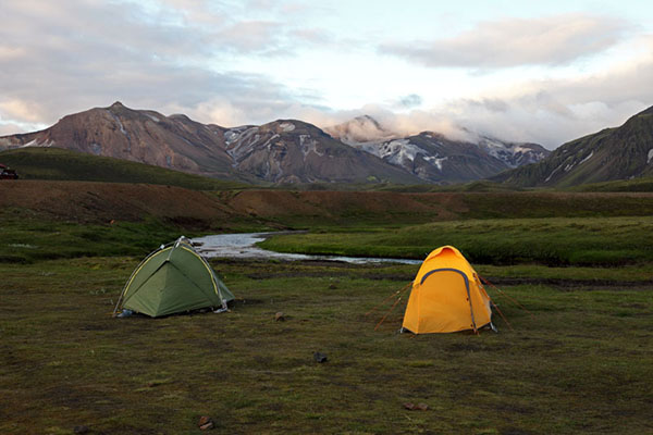 03D-5304 Tents at the Alftavatn Camping Area on the Laugavegur Hiking Trail Iceland.