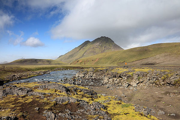 03D-5372 The River Kaldaklofskvisl on the Laugavegur Hiking Trail With the Mountain of Storasula Behind Iceland